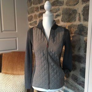 J. McLaughlin zip sweater pattern gray textured xs